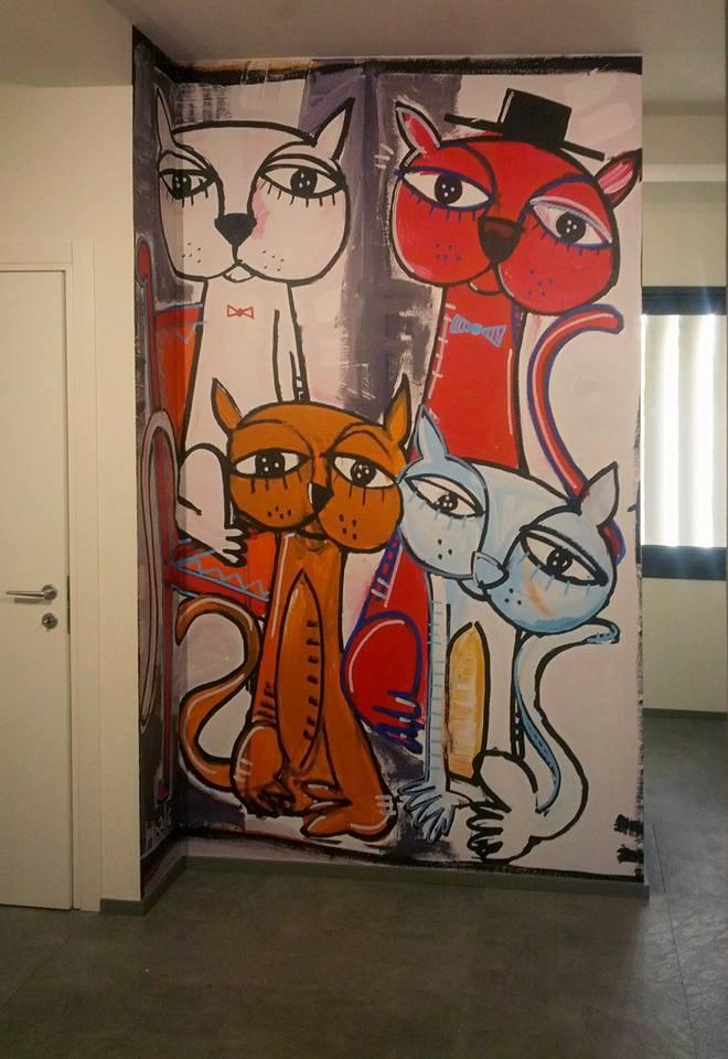 company decoration-cats-wall-sivigliart