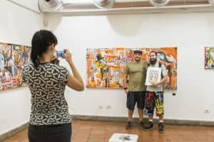 photo with the artist alessandro siviglia-painting
